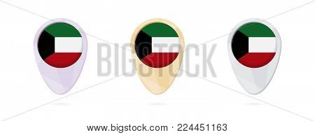 Map markers with flag of Kuwait, 3 color versions.