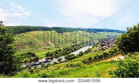 travel to Germany - panorama of valley of Mosel river in Cochem