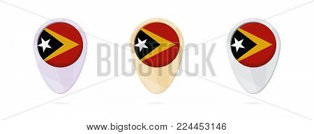 Map markers with flag of East Timor, 3 color versions.