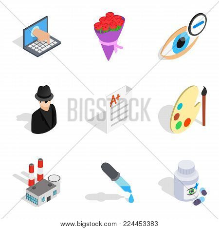 Efficient population icons set. Isometric set of 9 efficient population vector icons for web isolated on white background