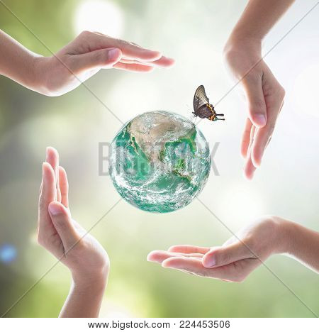 Earth day and saving green world with environmental protection concept: Element of this image furnished by NASA