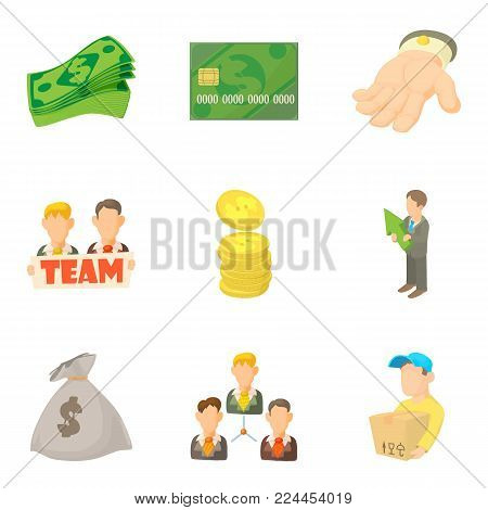Job contract icons set. Cartoon set of 9 job contract vector icons for web isolated on white background