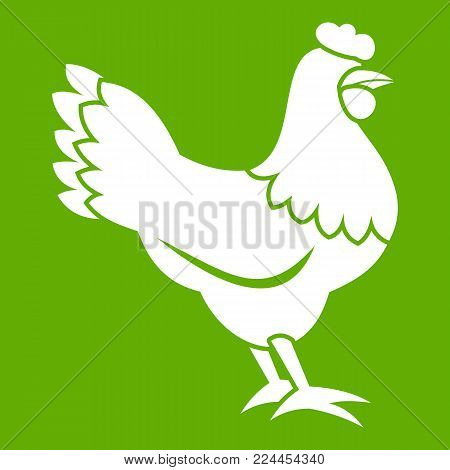 Hen icon white isolated on green background. Vector illustration