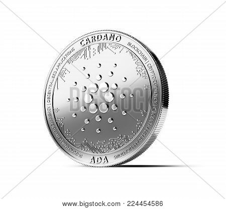 Silver CARDANO (ADA) coin isolated on white background. Concept coin. 3D rendering