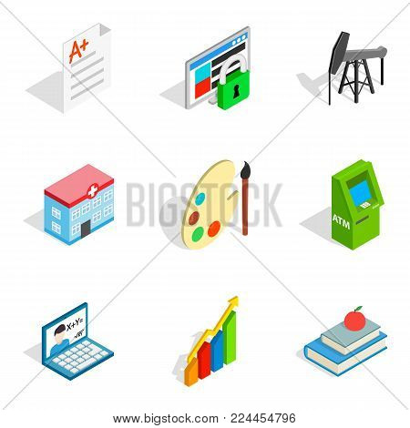 Work agreement icons set. Isometric set of 9 work agreement vector icons for web isolated on white background
