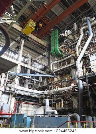 Steam Turbine, Generator, Machinery, Pipes, Tubes, At Power Plant