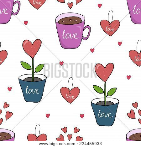 Valentine's day card. Cute hand drawn seamless pattern with heart, flower, cup