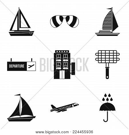 Wandering icons set. Simple set of 9 wandering vector icons for web isolated on white background