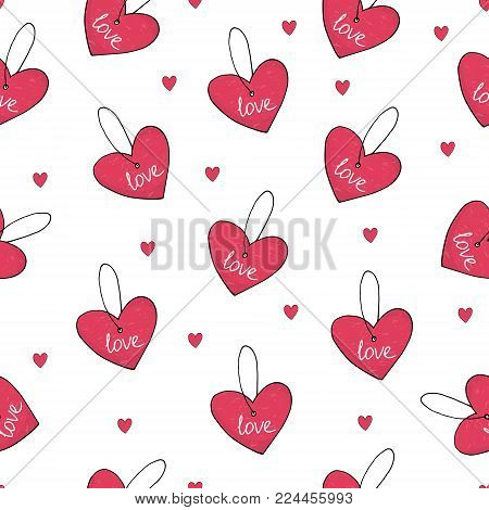 Valentine's day card. Cute hand drawn seamless pattern with heart