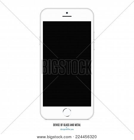 smartphone mockup in black colorful with colored screen front, back and side on white background. stock vector illustration eps10