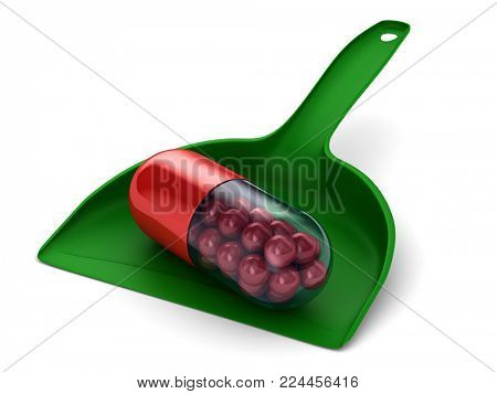 capsule in dustpan on white background. Isolated 3D illustration