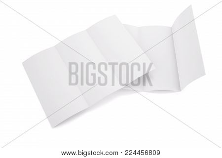 Blank white tri folded booklet mockup, opened and closed isolated on white background. Empty template booklet for your design. 3d rendering