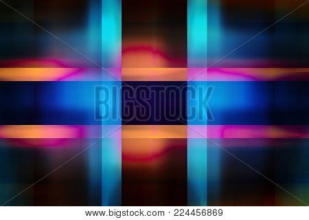Colourful blue and yellow light beams background