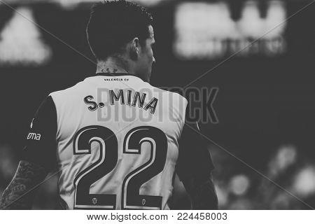 VALENCIA, SPAIN - JANUARY 27: Santi Mina during Spanish La Liga match between Valencia CF and Real Madrid at Mestalla Stadium on January 27, 2018 in Valencia, Spain