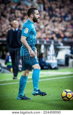 VALENCIA, SPAIN - JANUARY 27: Carvajal during Spanish La Liga match between Valencia CF and Real Madrid at Mestalla Stadium on January 27, 2018 in Valencia, Spain