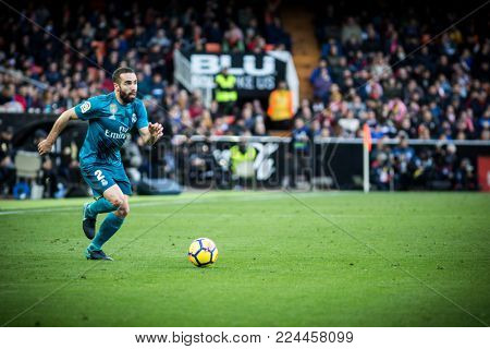 VALENCIA, SPAIN - JANUARY 27: Dani Carvajal during Spanish La Liga match between Valencia CF and Real Madrid at Mestalla Stadium on January 27, 2018 in Valencia, Spain