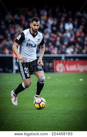 VALENCIA, SPAIN - JANUARY 27: Martin Montoya during Spanish La Liga match between Valencia CF and Real Madrid at Mestalla Stadium on January 27, 2018 in Valencia, Spain