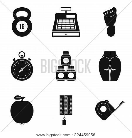 Kettlebell icons set. Simple set of 9 kettlebell vector icons for web isolated on white background