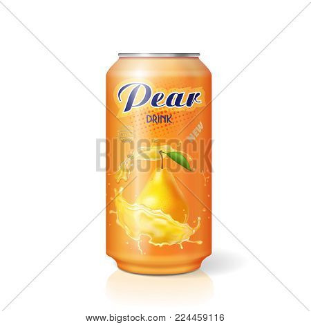 Aluminum can with pear fruit juice. Vector realistic isolated