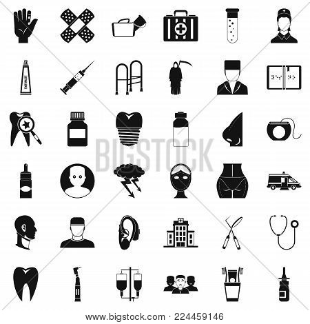 Holistic icons set. Simple set of 36 holistic vector icons for web isolated on white background