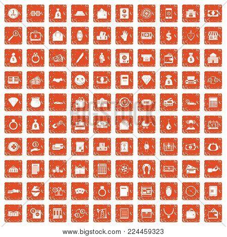 100 deposit icons set in grunge style orange color isolated on white background vector illustration