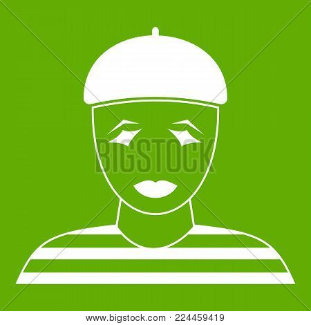 Clown icon white isolated on green background. Vector illustration