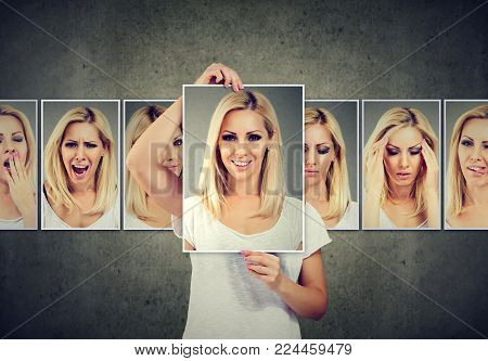 Masked young blonde woman expressing different emotions