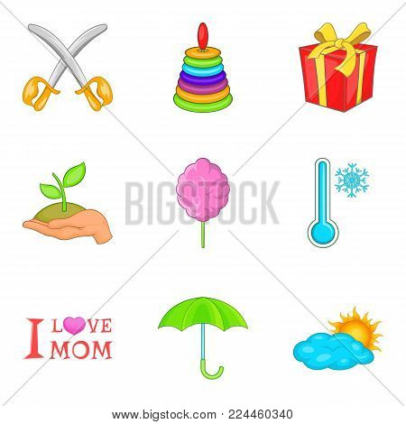 Adolescent icons set. Cartoon set of 9 adolescent vector icons for web isolated on white background