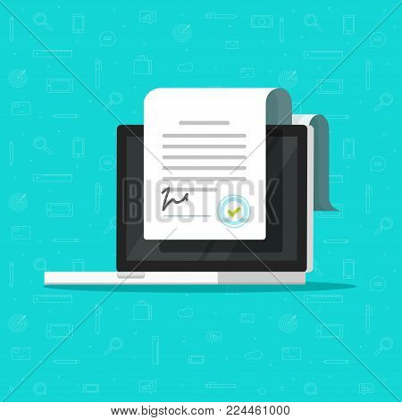 Online electronic smart contract document on laptop vector illustration, flat cartoon paper document, signature on computer screen, concept of digital or internet office, on-line deal, web paperwork