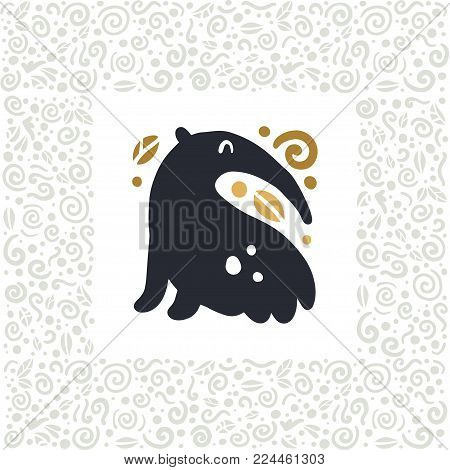 Vector flat cute funny hand drawn anteater animal silhouette isolated on white background.  Perfect for children goods store logo insignia, kid clothes and accessory prints, zoo logotype etc.