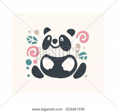Vector flat cute funny hand drawn panda bear animal silhouette isolated on white background.  Perfect for children goods store logo insignia, kid clothes and accessory prints, zoo logotype etc.