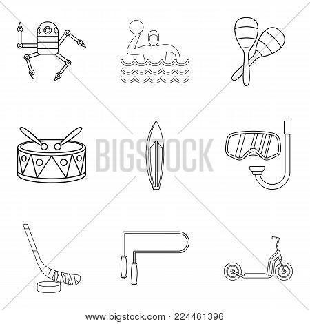 Teenage boy icons set. Outline set of 9 teenage boy vector icons for web isolated on white background