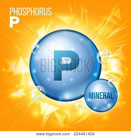 P Phosphorus Vector. Mineral Blue Pill Icon. Vitamin Capsule Pill Icon. Substance For Beauty, Cosmetic, Heath Promo Ads Design. Mineral Complex With Chemical Formula. Illustration