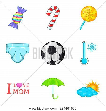Puberty icons set. Cartoon set of 9 puberty vector icons for web isolated on white background