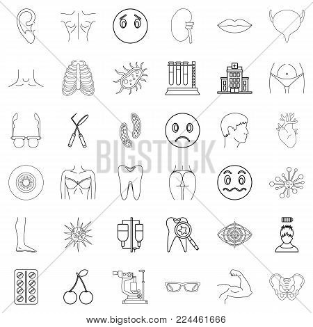 Medical advisor icons set. Outline set of 36 medical advisor vector icons for web isolated on white background