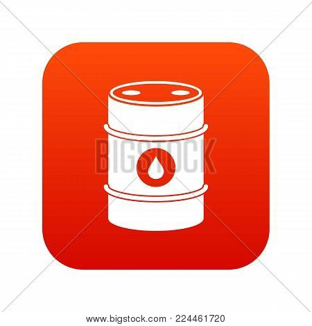 Metal oil barrel icon digital red for any design isolated on white vector illustration