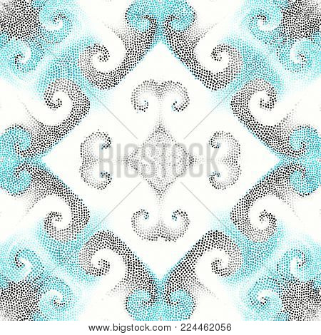 Seamless background pattern. Irregular decorative mosaic art tile pattern from small dots. White background.