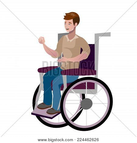 Disabled young man in wheelchair. Vector illustration