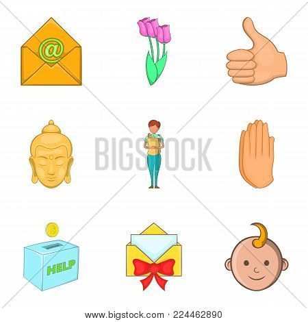 Kindness icons set. Cartoon set of 9 kindness vector icons for web isolated on white background