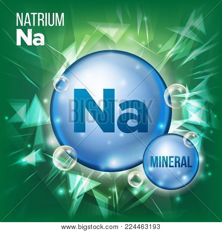 Na Natrium Vector. Mineral Blue Pill Icon. Vitamin Capsule Pill Icon. Substance For Beauty, Cosmetic, Heath Promo Ads Design. Mineral Complex With Chemical Formula. Illustration