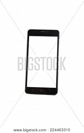 Black Modern Smartphone With Blank Screen Isolated On White Background