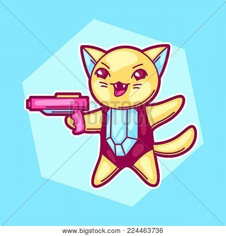 Japanese anime cosplay cat. Cute kawaii character with gun.