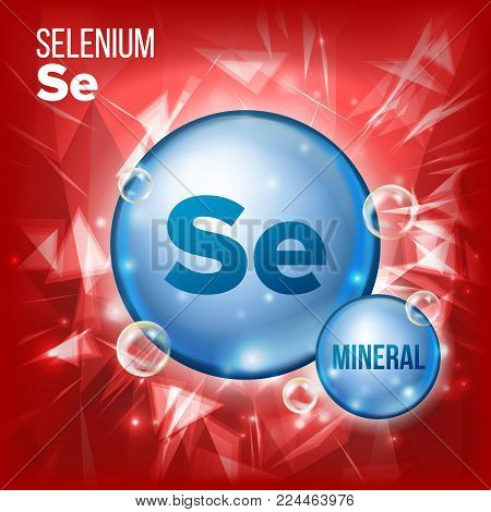 Se Selenium Vector. Mineral Blue Pill Icon. Vitamin Capsule Pill Icon. Substance For Beauty, Cosmetic, Heath Promo Ads Design. Mineral Complex With Chemical Formula. Illustration