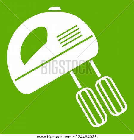 Electric mixer icon white isolated on green background. Vector illustration