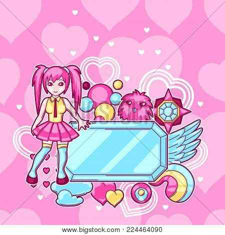 Japanese anime cosplay background. Cute kawaii characters and items.
