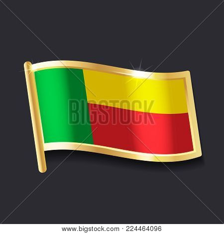 flag of Benin in the form of badge, flat image