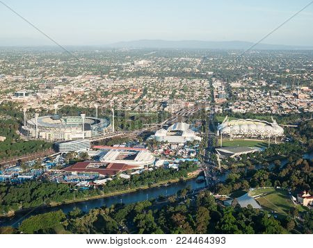Melbourne, Australia - January 16, 2018: aerial view of Yarra Park, site of the Australian Open, and the MCG in the background.