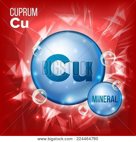 Cu Cuprum Vector. Mineral Blue Pill Icon. Vitamin Capsule Pill Icon. Substance For Beauty, Cosmetic, Heath Promo Ads Design. Mineral Complex With Chemical Formula. Illustration