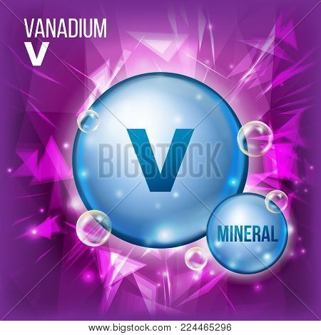V Vanadium Vector. Mineral Blue Pill Icon. Vitamin Capsule Pill Icon. Substance For Beauty, Cosmetic, Heath Promo Ads Design. Mineral Complex With Chemical Formula. Illustration