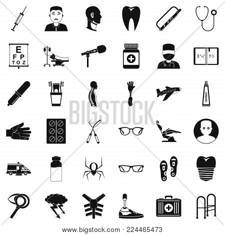 Med care icons set. Simple set of 36 med care vector icons for web isolated on white background